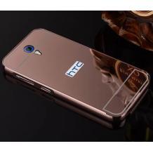 Луксозен алуминиев бъмпер с твърд гръб за HTC Desire 620 - Rose Gold / огледален