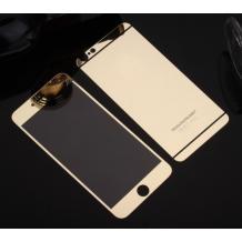 Стъклен скрийн протектор / 9H Tempered Glass Colorful Mirror Screen Protector / 2 в 1 за Apple iPhone 7 - златен / Gold / лице и гръб