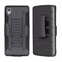Удароустойчив калъф със стойка от 2 части за Sony Xperia M4 Aqua - черен