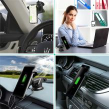 Универсална стойка за кола с безжично зареждане / Wireless Charger Vehicle Dock 2 in 1 - iPhone X / iPhone 8 / iPhone 8 plus / Samsung S8 / S8 plus / S7 / S7 edge /S6 Edge plus