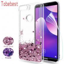 Луксозен твърд гръб 3D Water Case за Huawei Y7 2018 / Y7 2018 Prime - прозрачен / течен гръб с розов брокат