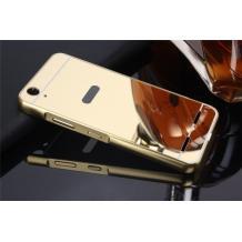 Луксозен алуминиев бъмпер с твърд гръб за Lenovo Vibe K5 / Vibe K5 Plus / A6020 - златен / огледален