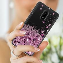 Луксозен твърд гръб 3D Water Case за Nokia 2.2 - прозрачен / течен гръб с розов брокат