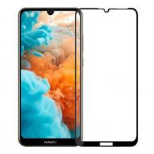 3D full cover Tempered glass Full Glue screen protector Huawei Y6 2019 / Извит стъклен скрийн протектор с лепило от вътрешната страна за Huawei Y6 2019 - черен