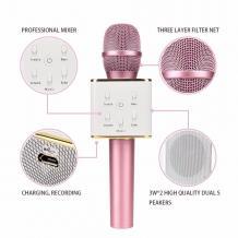 Караоке микрофон с вградени стерео високоговорители / Bluetooth Wireless Microphone Hifi Speaker Q7 - розов