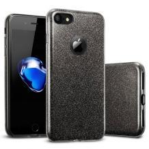 Силиконов калъф / гръб / TPU за Apple iPhone 6 / iPhone 6S - черен / брокат