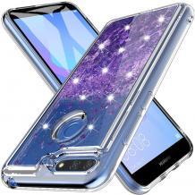 Луксозен твърд гръб 3D Water Case за Huawei Y7 2018 / Y7 2018 Prime - прозрачен / течен гръб с лилав брокат