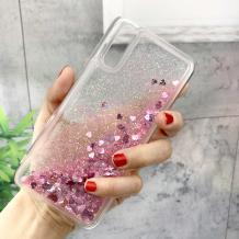 Луксозен твърд гръб 3D Water Case за Huawei P30 - прозрачен / течен гръб с брокат / сърца / розов