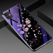 """Луксозен стъклен твърд гръб със силиконов кант за Apple iPhone 11 Pro 5.8"""" - лилави цветя"""