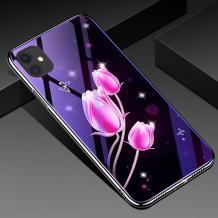 """Луксозен стъклен твърд гръб със силиконов кант за Apple iPhone 11 Pro 5.8"""" - розови лалета"""
