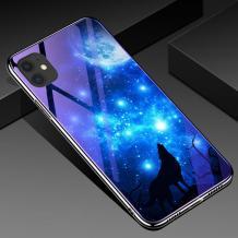 Луксозен стъклен твърд гръб със силиконов кант за Apple iPhone 11 Pro 5.8 - синьо съзвездие