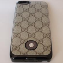 Заден твърд гръб / външна батерия / Battery power bank 2500mAh за Apple iPhone 5 / iPhone 5S - сив с фигури
