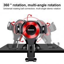 Универсална стойка за кола Baseus Osculum Gravity Car Mount за Samsung, Apple, Huawei, Lenovo, LG, HTC, Sony, Nokia, ZTE, Xiaomi - черна с червено / въртяща се на 360 градуса