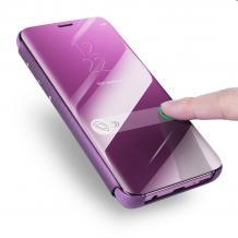 Луксозен калъф Clear View Cover с твърд гръб за Huawei Y5 2019 - лилав