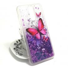 Луксозен твърд гръб 3D за Lenovo Vibe K5 Note A7020 - прозрачен / пеперуди / лилав брокат