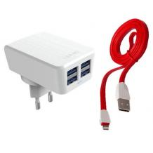 Оригинално зарядно устройство LDNIO DL-AC62 - 4.2A / 4 USB Port AC Adapter за Apple iPhone 5 / iPhone 5S / iPhone SE / iPhone 6 / iPhone 6S / iPhone 7 / iPhone 7 Plus / iPhone 8 / iPhone 8 Plus - бяло с червено