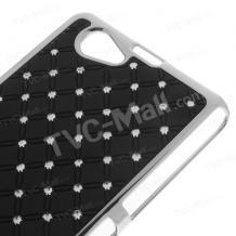 Твърд гръб / капак / с камъни за Sony Xperia Z1 Compact D5503 - черен с метален кант