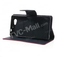 Кожен калъф Flip тефтер MERCURY Goospery със стойка за Sony Xperia Z1 Compact - червен