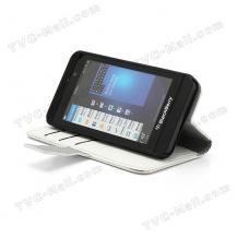 Кожен калъф Flip тефтер Carbon със стойка за BlackBerry Z10 - бял