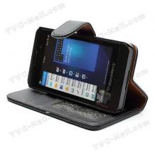 Кожен калъф Flip тефтер със стойка за BlackBerry Z10 - черен