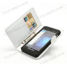 Кожен калъф Flip тефтер за BlackBerry Z10 - бял / Croco