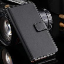 Кожен калъф Flip тефтер Flexi със стойка за Samsung Galaxy J5 - естествена кожа / черен