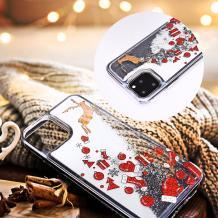 Луксозен твърд гръб 3D Winter Water Case за Huawei P Smart Z / Y9 Prime 2019 - прозрачен / течен гръб с бял брокат / Gifts