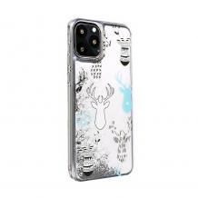 Луксозен твърд гръб 3D Winter Water Case за Huawei P Smart Z / Y9 Prime 2019 - прозрачен / течен гръб с бял брокат / Reindeers