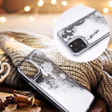 Луксозен твърд гръб 3D Winter Water Case за Huawei P Smart Z / Y9 Prime 2019 - прозрачен / течен гръб с бял брокат / Snowflakes