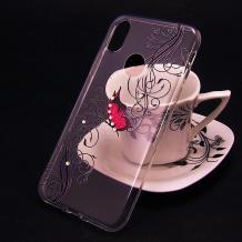 Луксозен силиконов калъф / гръб / TPU за Motorola Moto E6 Plus - прозрачен / розова пеперуда