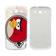 Оригинален заден предпазен капак за Samsung Galaxy S3 I9300 / SIII I9300 - Angry birds / бял с червено
