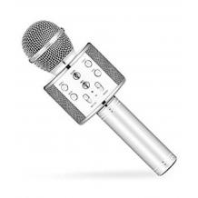 Караоке микрофон с вградени стерео високоговорители / Bluetooth Wireless Microphone Hifi Speaker WS-858 - сребрист