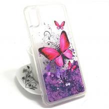 Луксозен твърд гръб 3D за Sony Xperia XA1 Ultra - прозрачен / пеперуди / лилав брокат