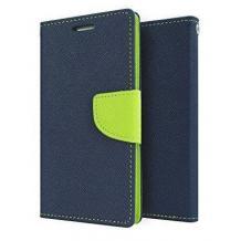 Кожен калъф Flip тефтер със стойка MERCURY Fancy Diary за Nokia 3.1 - тъмно син със зелено