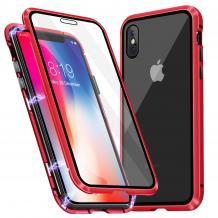Магнитен калъф Bumper Case 360° FULL за Apple iPhone X / iPhone XS - прозрачен / червена рамка