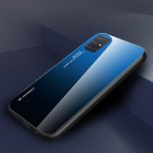Луксозен стъклен твърд гръб за Samsung Galaxy A41 – преливащ / синьо - черно