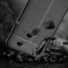 Луксозен силиконов калъф / гръб / TPU за Samsung Galaxy A11 - черен / имитиращ кожа