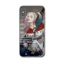 Луксозен стъклен твърд гръб за Apple iPhone X / iPhone XS - Poker Face Girl