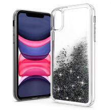 Луксозен твърд гръб 3D Water Case за Samsung Galaxy A20e - прозрачен / течен гръб с черен брокат