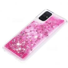 Луксозен твърд гръб 3D Water Case за Samsung Galaxy A21s - прозрачен / течен гръб с брокат / сърца / розов