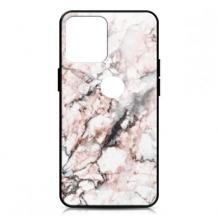 Луксозен гръб за Samsung Galaxy A21s - мрамор / бял с розово