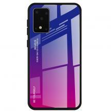 Луксозен стъклен твърд гръб за Samsung Galaxy A41 – преливащ / синьо - лилаво