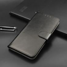 Кожен калъф Flip тефтер Flexi със стойка за Lenovo A6 Note - черен
