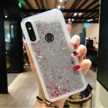 Луксозен твърд гръб 3D Water Case за Huawei Y7 2019 - прозрачен / течен гръб с брокат / сребрист / звездички