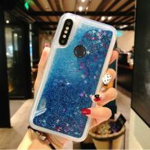 Луксозен твърд гръб 3D Water Case за Huawei Y7 2019 - прозрачен / течен гръб със син брокат / звездички