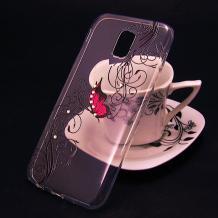 Луксозен силиконов калъф / гръб / TPU за Xioami Redmi 8A - прозрачен / розова пеперуда