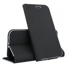 Луксозен кожен калъф Flip тефтер Vennus за Huawei Y6p - черен / carbon