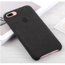 Луксозен гръб Leather Alcantara Case за Apple iPhone 7 Plus - Черен