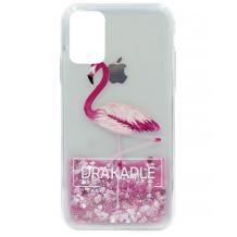 Луксозен твърд гръб 3D Water Case за Huawei Y5p - течен гръб с розов брокат / Drakaple