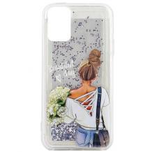 Луксозен твърд гръб 3D Water Case за Apple iPhone 11 6.1'' - течен гръб със сребрист брокат / Girl